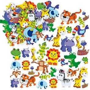 Samolepky pěnové - Zvířátka z džungle 96 ks