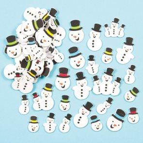Samolepky pěnové - Sněhuláci - třpytivé - 80 ks