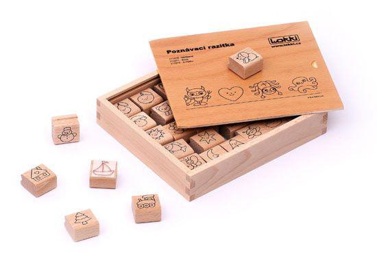 Dřevěná rozlišovací razítka pro mateřské školky / Basic/ - 3 x 3 x 1,5 cm