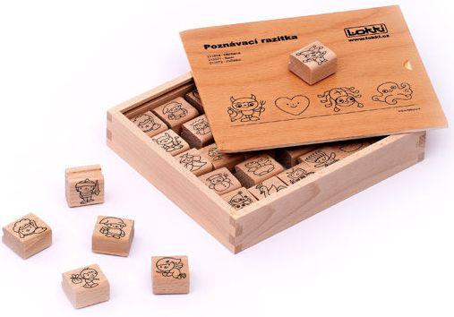 Dřevěná rozlišovací razítka pro mateřské školky / pohádky/ - 3 x 3 x 1,5 cm