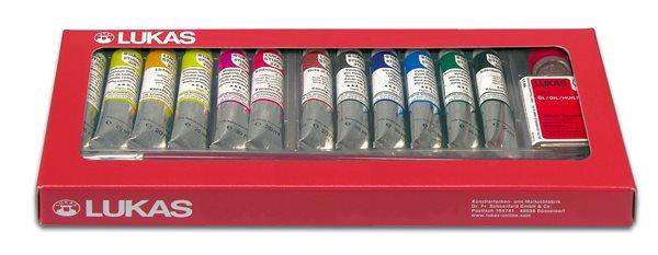 Sada olejových barev LUKAS Studio - 12 x 20 ml + čistič štětců