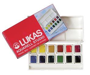 Sada akvarelových barev - cestovní box - 12 pánviček
