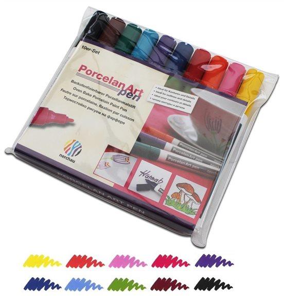 Tužky na porcelan Nerchau - sada 10 odstínů