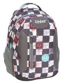Školní batoh EXPLORE - EX plaid - černý