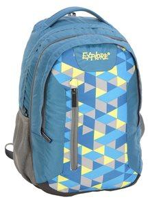 Školní batoh EXPLORE - Colorful triangles - modrý