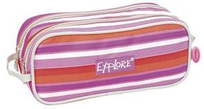Školní pouzdro Explore - pruhy - fialová