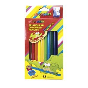 Trojhranné pastelky Easy Jumbo 12 barev + ořezávátko