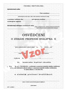Osvědčení o získání profesní kvalifikace (právnické osoby)