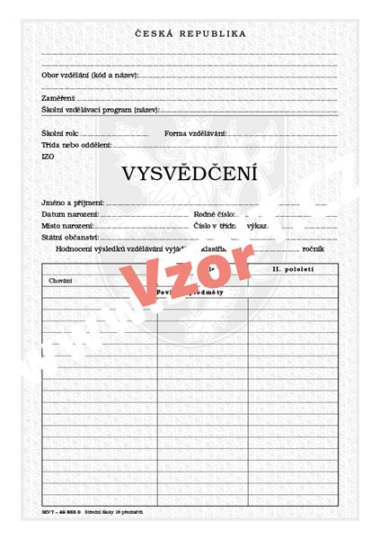 Vysvědčení SŠ ročníkové - 18 povinných předmětů - list A4