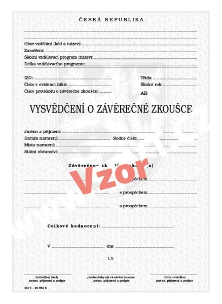 Vysvědčení o závěrečné zkoušce (střední vzdělání) - list 210×287