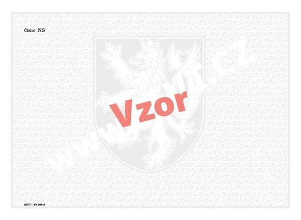Bianco s vodoznakem - vysvědčení s číslováním (použití pro výuční list nebo pro diplom VOŠ) - list 287×210, vodoznak, státní znak + lipové listy