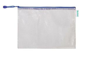 Obálka se zipem A4, PVC síťovina - modrá