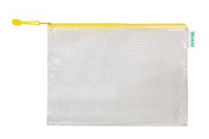 Obálka se zipem A4, PVC síťovina - žlutá