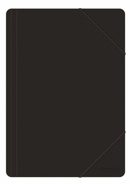 Desky s gumou PVC A4 3 klopy FORMAT - černá
