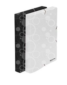 PP Krabice na spisy A4 3 klopy s gumou Black&White - bílá