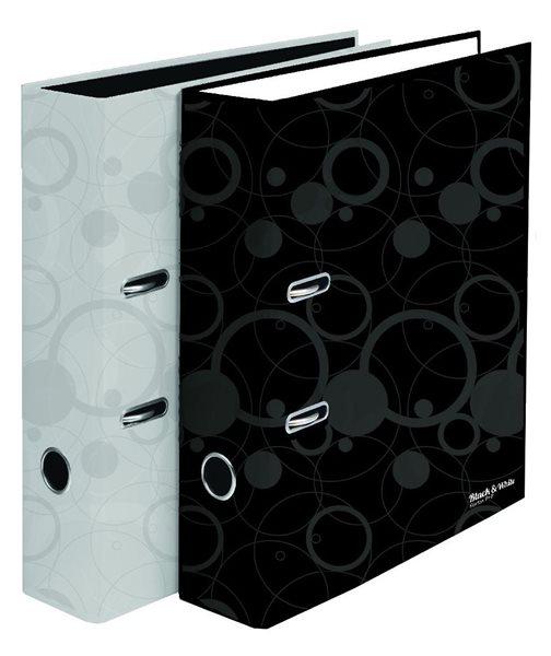 Karton Black & White Pořadač pákový lamino 8 cm - bílý