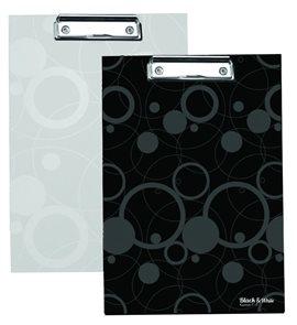 Karton PP Black & White Psací podložka A4 s klipem - bílá