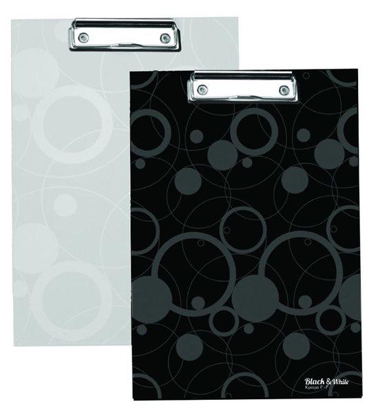 Karton Black & White Psací podložka s klipem bílá