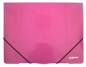 Karton PP E-collection Desky s gumou PP 3 klopy A4 - růžové