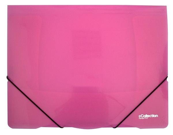 Karton PP eCollection Desky s gumou A4, PP, 3 klopy - růžové