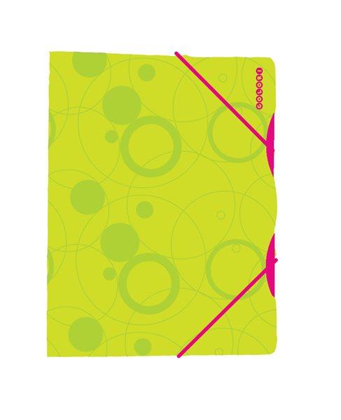 Karton Colori Desky s gumou PP 3 klopy A4 - zeleno/růžový