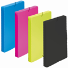 Krabice na spisy A4 3 klopy s gumou neprůhledný PP - žlutozelená/limeta