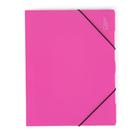 Desky s gumou A4 3 klopy neprůhledný PP - růžová/magenta