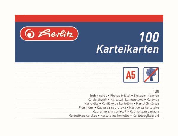 Herlitz Karty do kartotéky A5, linkované - 100 ks