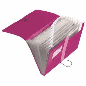 Herlitz Spisové desky A4 PP organizační, 12 přihrádek - růžové