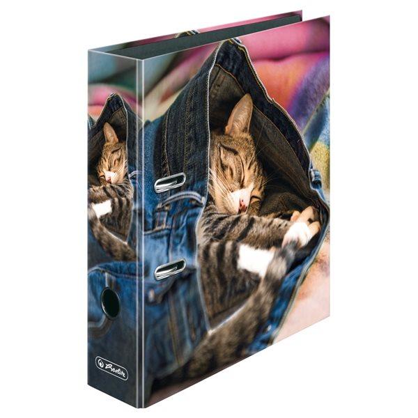 Herlitz Pořadač pákový A4/8 cm lamino - Jeans Cat