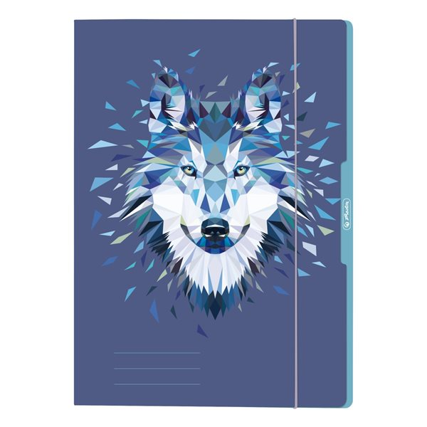 Herlitz Desky s gumou A4 3 klopy Wild Animal - Vlk