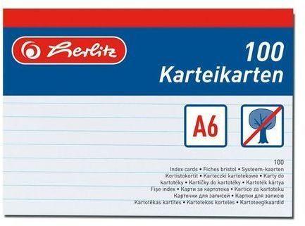 Herlitz Karty do kartotéky A6, linkované - 100 ks