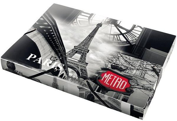 PP Box na dokumenty s gumoou A4 - Paris