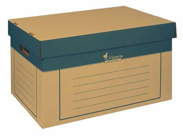 Victoria Archivační krabice s víkem 2ks - přírodní