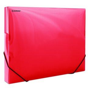Donau Box na spisy s gumou A4, 3 cm, PP - červený