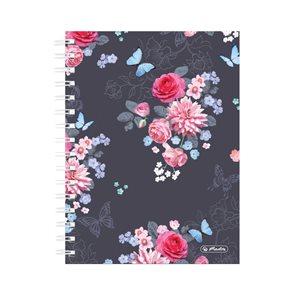 Herlitz Spirálový blok A5/100 listů čtvereček Ladylike květy