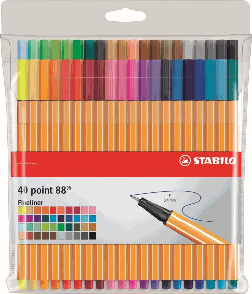 STABILO point 88 Jemný liner - sada 40 barev