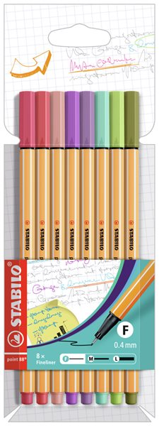 STABILO point 88 Jemný liner - sada 8 barev (nové barvy)