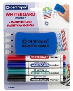 Centropen Popisovač 8559 na bílé tabule - sada 4 barev + magnetická houbička