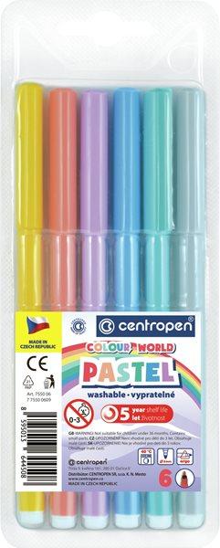 Centropen Popisovač COLOUR WORLD 7550 trojboký - sada 6 pastelových barev