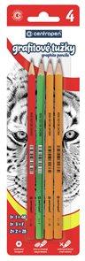 Centropen Tužka grafitová, 3 tvrdosti - balení 4 ks