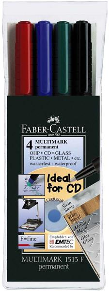 Permanentní popisovač Faber-Castell OHP-MULTIMARK F - sada 4 ks
