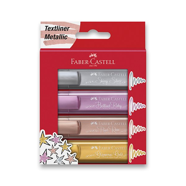 Zvýrazňovač Faber-Castell Textliner 46 metallic - sada 4 barev