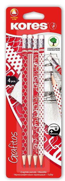 Kores Tužka červeno/bílá edice (číslo 2) trojboká - 4 ks v blistru