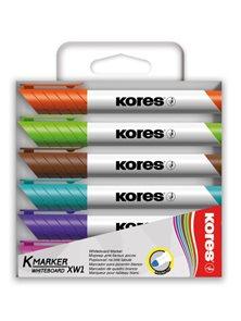 Kores Popisovač na bílé tabule kulatý hrot - sada 6 barev