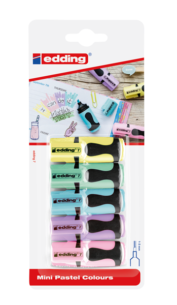 Edding 7/4S Zvýrazňovač mini - sada 5 pastelových barev
