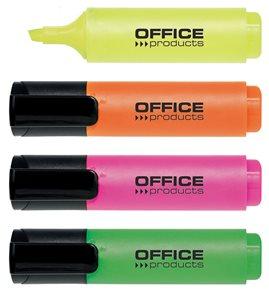Zvýrazňovač OFFICE Products, šíře stopy 2-5 mm - sada 4 barev