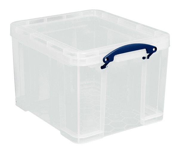 Plastový úložný box s víkem, 35 l, průhledný