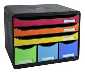 Zásuvkový box Plus duhový, plastový, 6 přihrádek