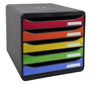 Zásuvkový box Plus duhový, plastový, 5 přihrádek, A4 maxi na výšku - černý